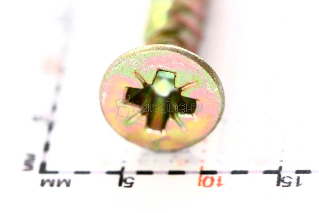 Головка желтого оцинкованного шурупа-самореза 4x25 потай