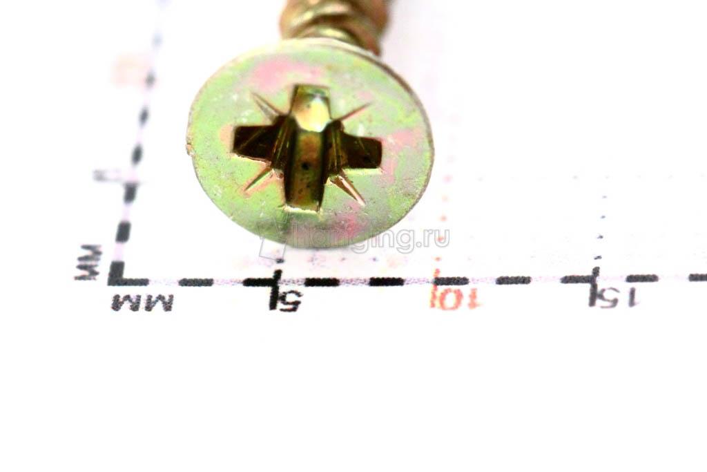 Головка желтого оцинкованного шурупа-самореза 4x35 потай