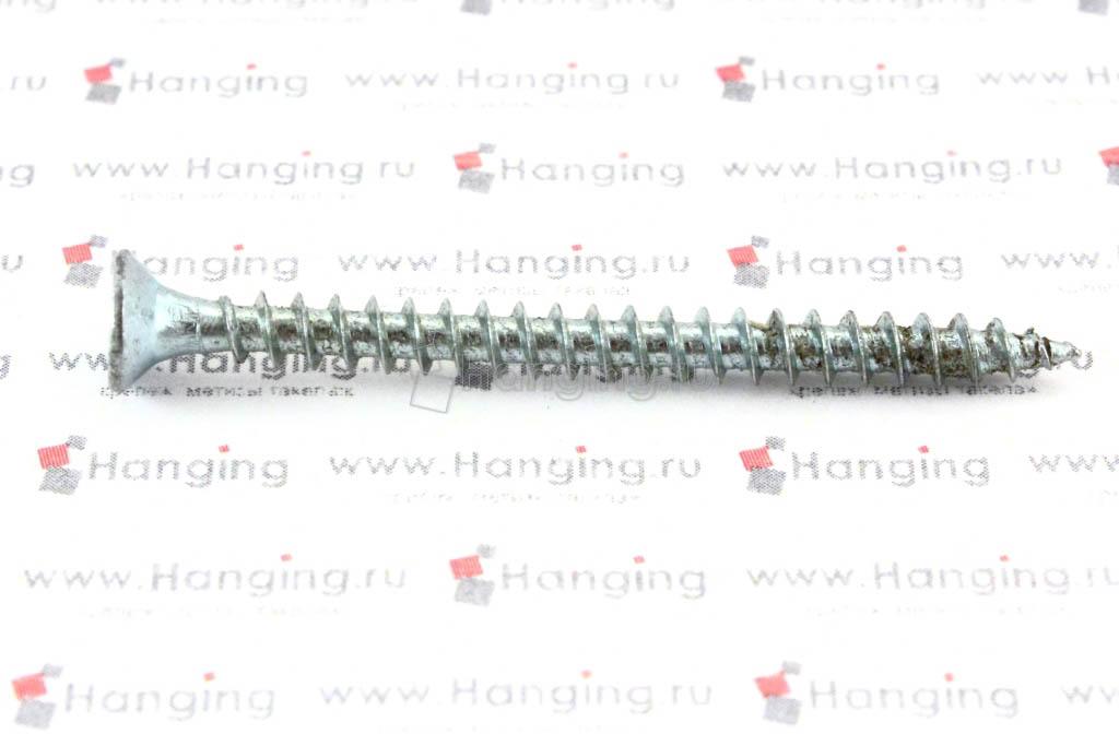 Саморез с потайной головкой белый цинк 4х50