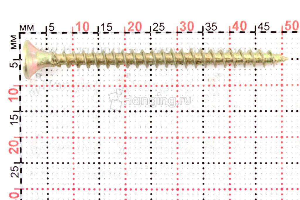Размеры самореза жёлтый цинк 4х50