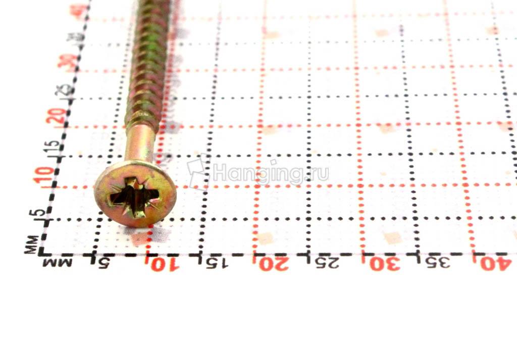 Головка желтого оцинкованного шурупа-самореза 4x70 потай