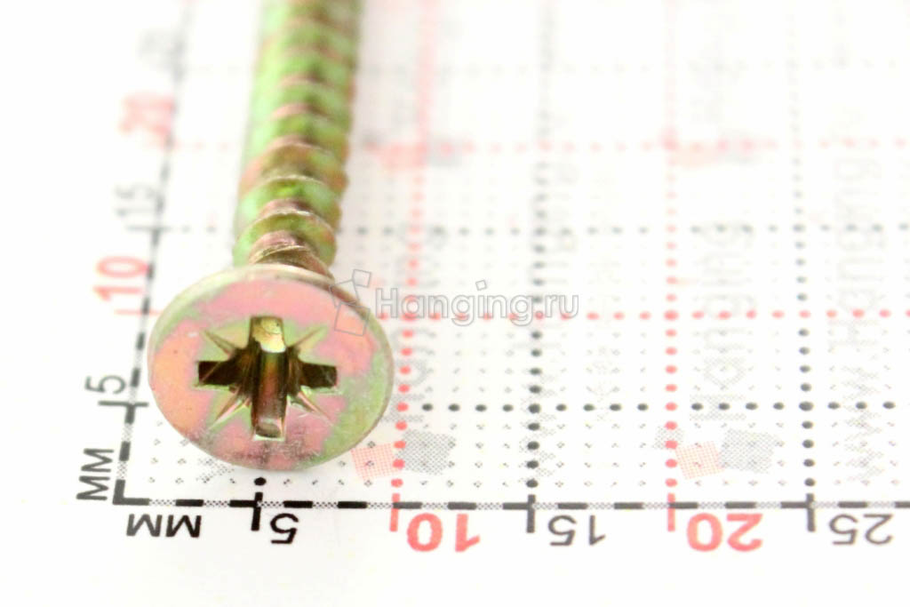 Головка желтого оцинкованного шурупа-самореза 4,5x40 потай
