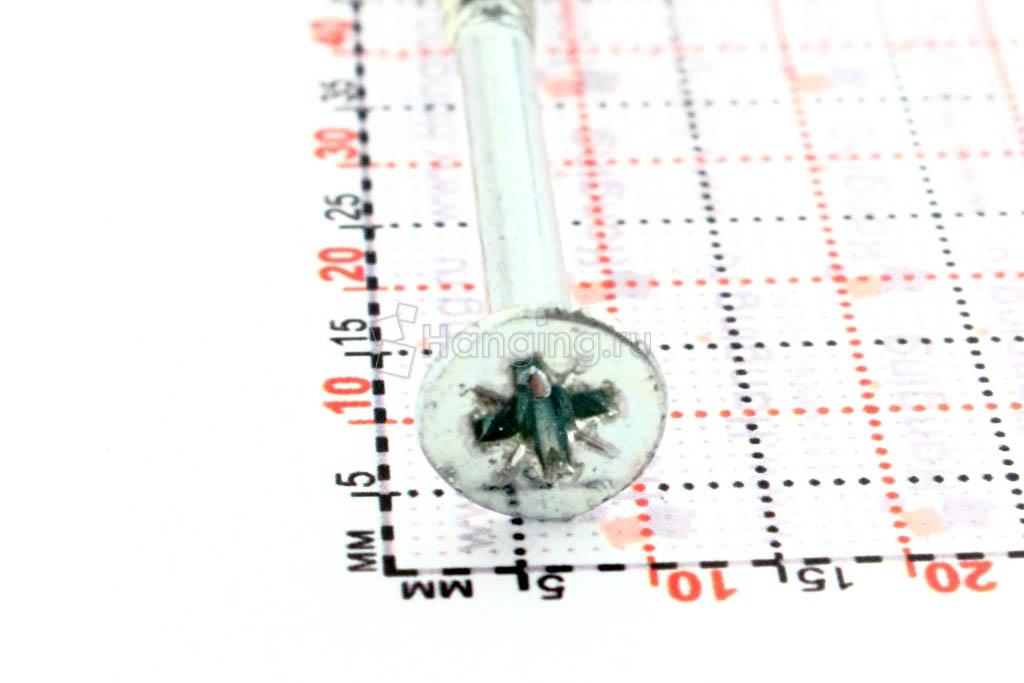 Головка самореза оцинкованного белым цинком 5*90, размер головки