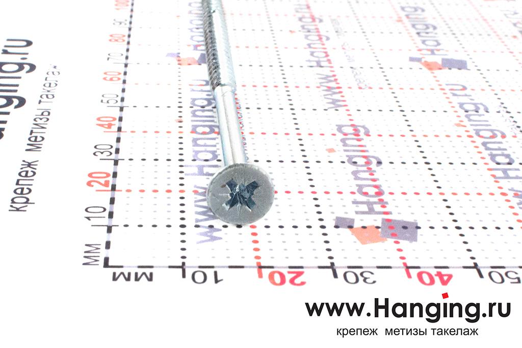Головка самореза оцинкованного белым цинком 5*100, размер головки