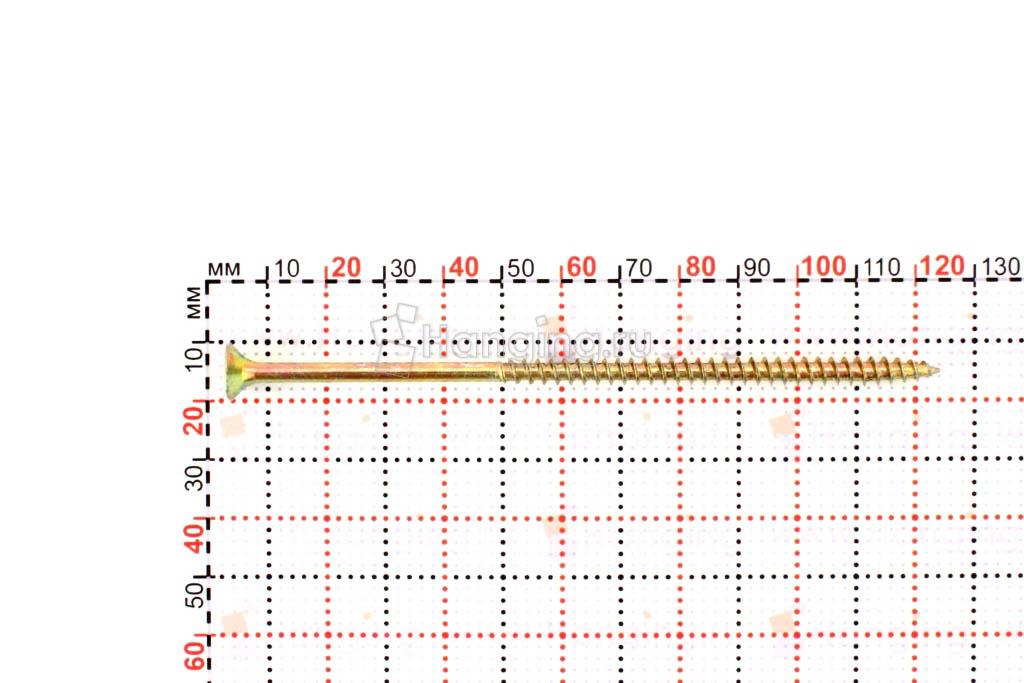 Размеры самореза жёлтый цинк 5х120