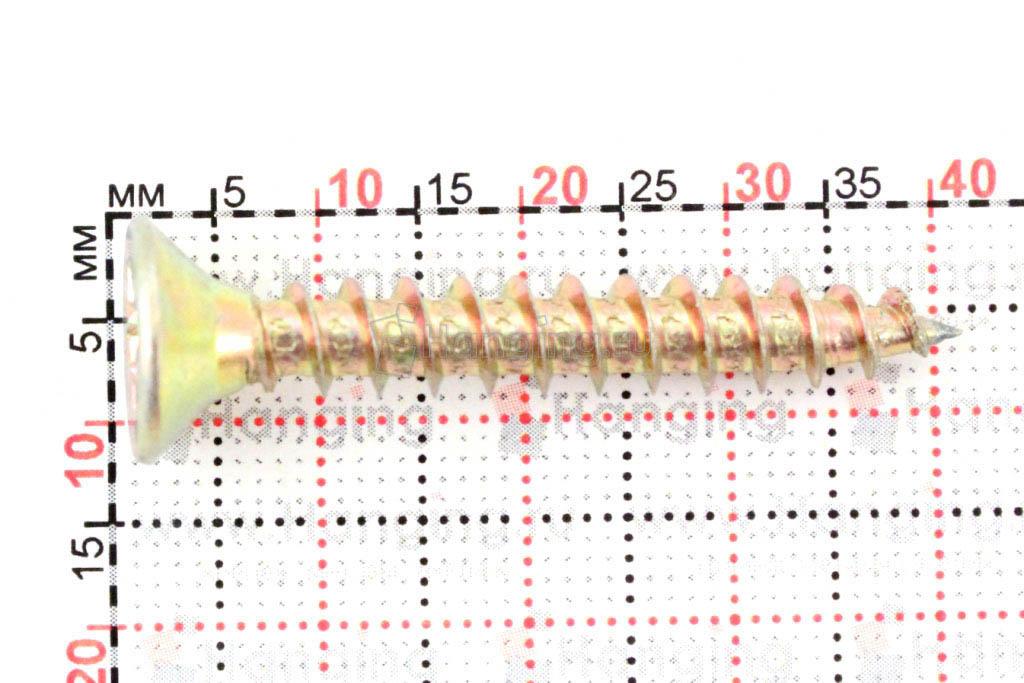 Размеры самореза жёлтый цинк 6х40