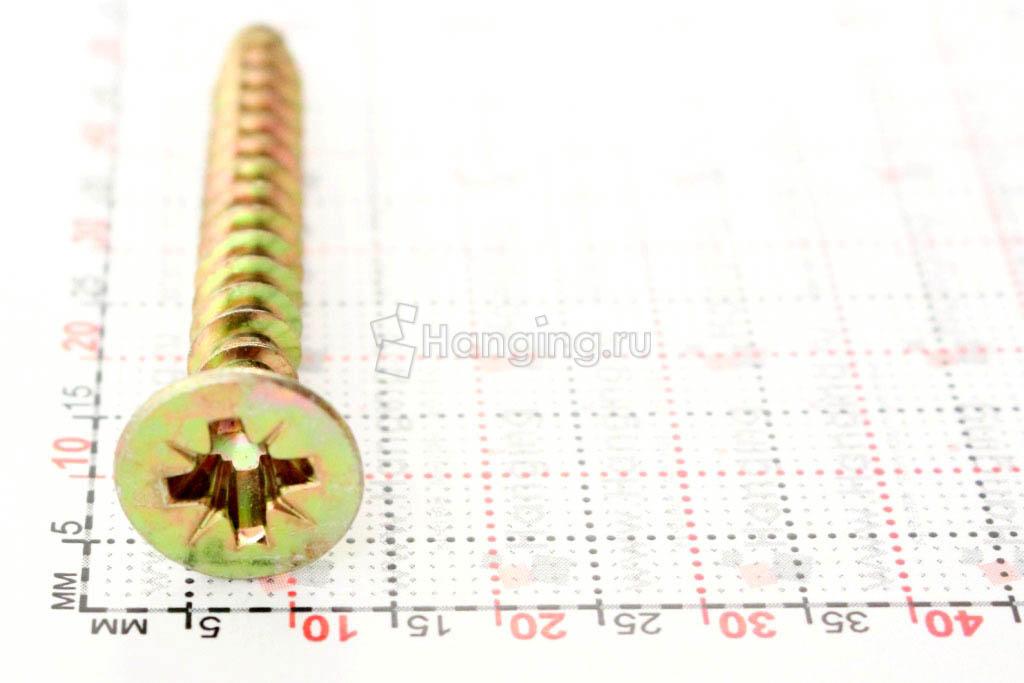 Размеры самореза жёлтый цинк 6х50