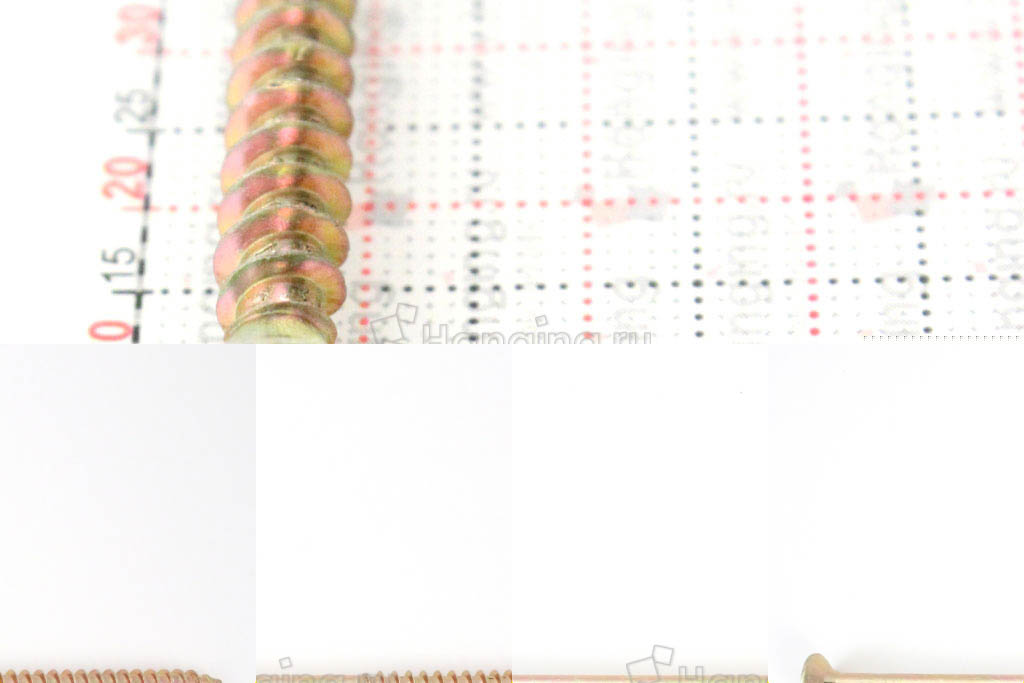 Головка желтого оцинкованного шурупа-самореза 6x70 потай
