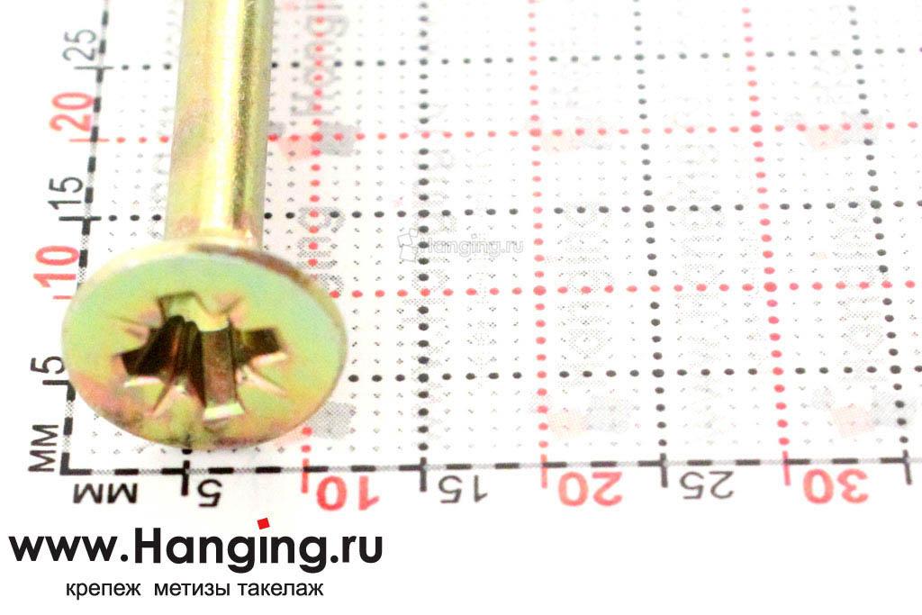 Желтый саморез 6*100, размер головки