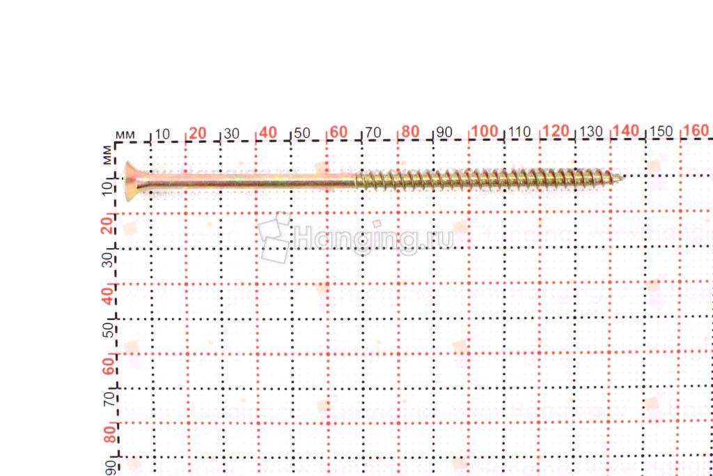 Размеры универсального желтопассированного самореза 6x140