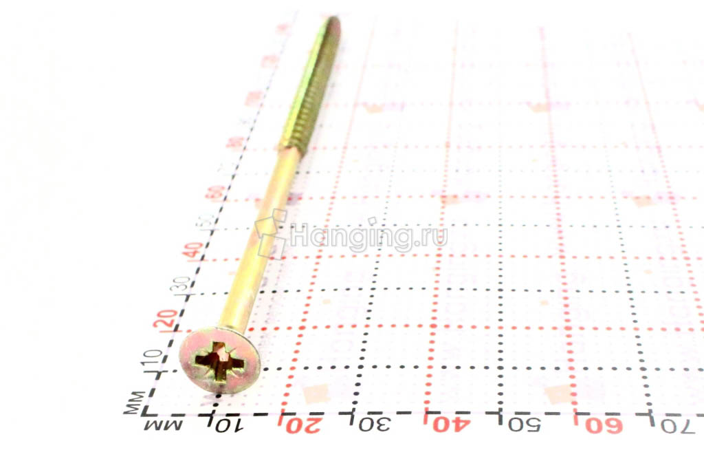 Головка желтого оцинкованного шурупа-самореза 6x140 потай