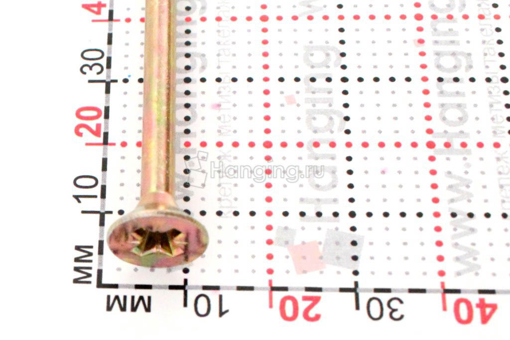 Головка желтого оцинкованного шурупа-самореза 6x160 потай