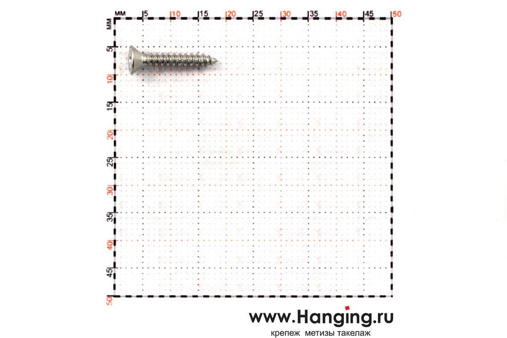 Размеры самореза 2,9х16 с потайной головкой и крестовым шлицем нержавеющего А2 DIN 7982