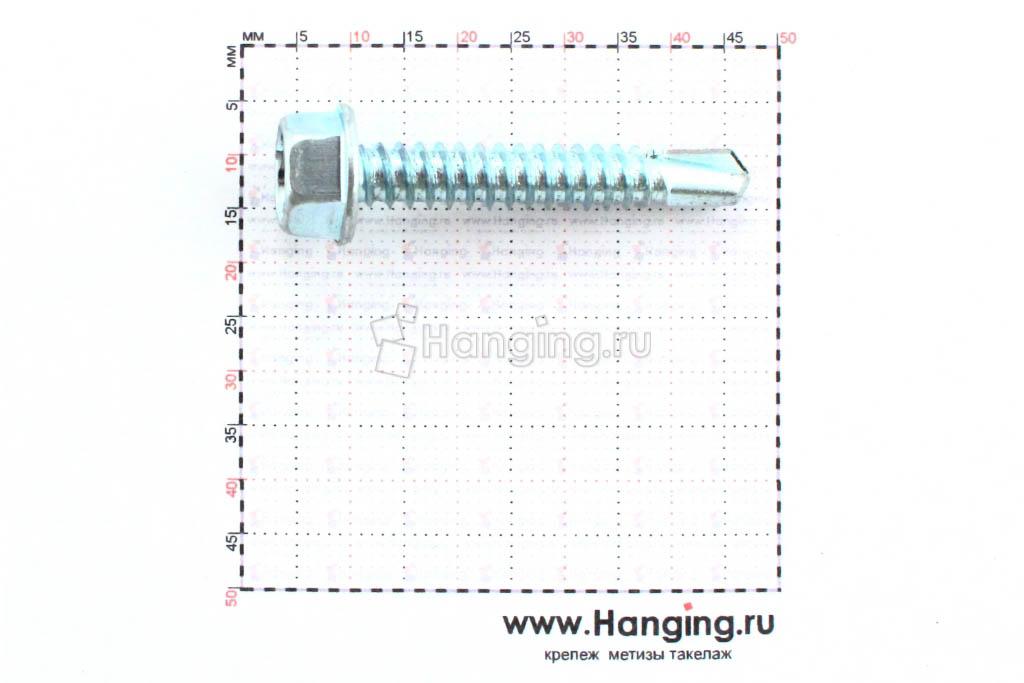 Размеры самореза с шестигранной головой по металлу цинк с буром 6,3х38