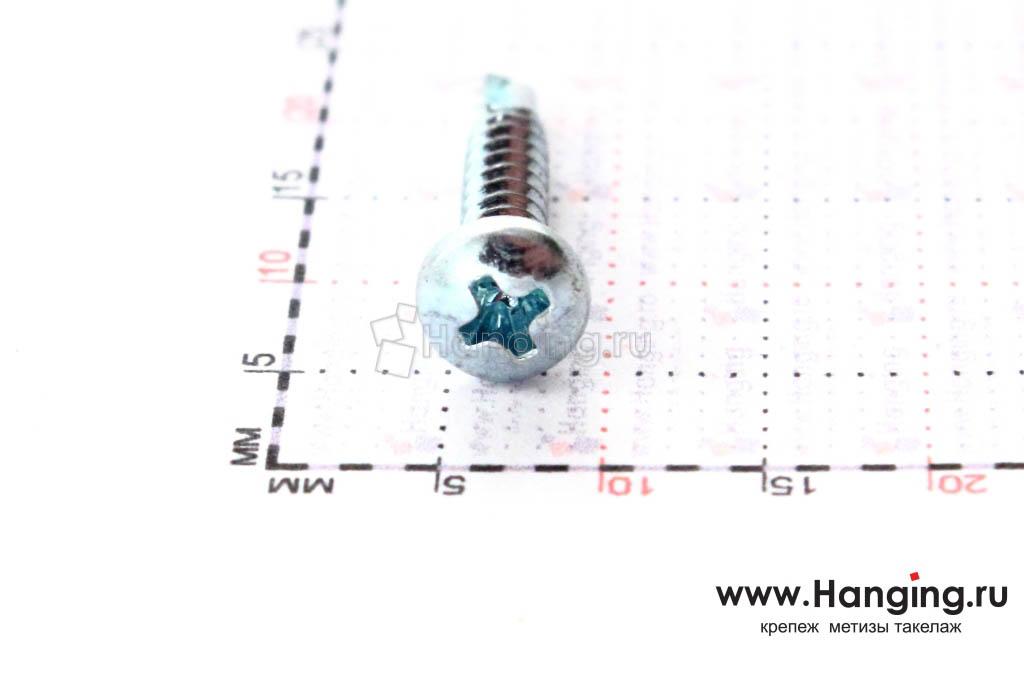 Полукруглая головка самореза с буром 2.9*16, размер головки