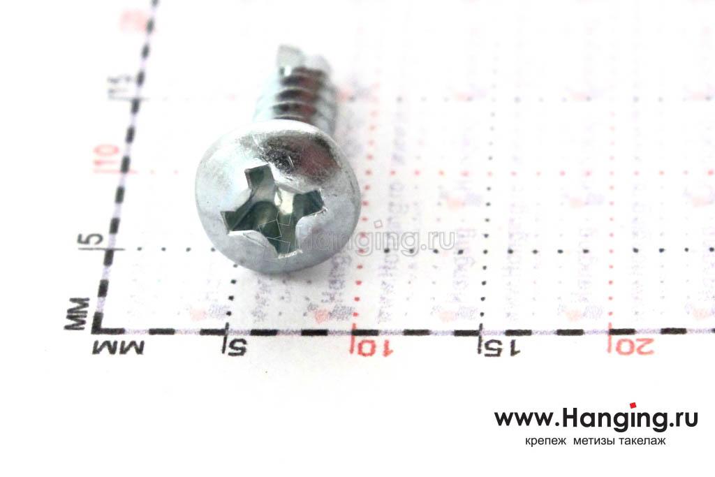 Полукруглая головка самореза с буром 3.5*13, размер головки