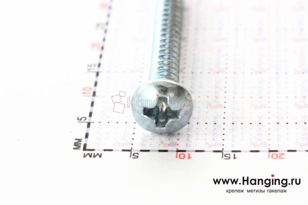 Полукруглая головка самореза DIN 7981 C-H, ISO 7049 3.5*32, размер головки