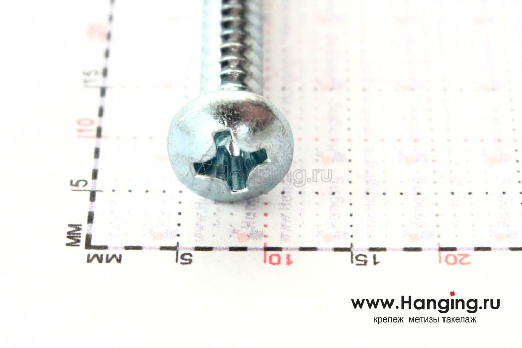 Полукруглая головка самореза DIN 7981 C-H, ISO 7049 3.9*41, размер головки