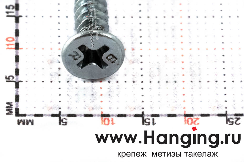 Размер потайной головки с крестообразным шлицем самореза DIN 7982 С-H zn 4,2*13 мм