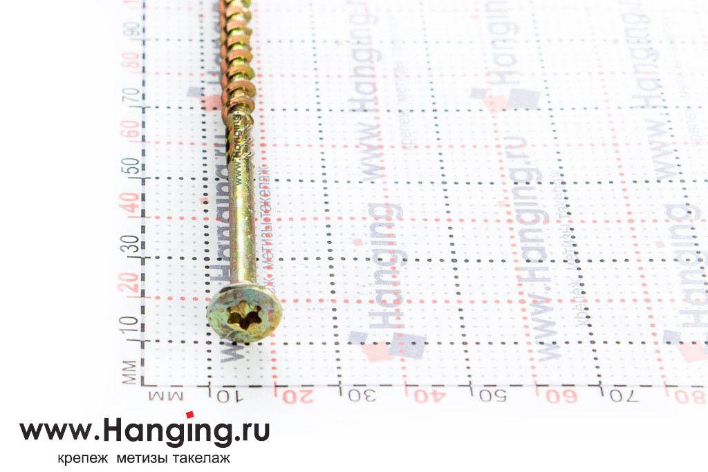 Головка самореза для плотных сортов дерева 6*120, желтый цинк, Torx