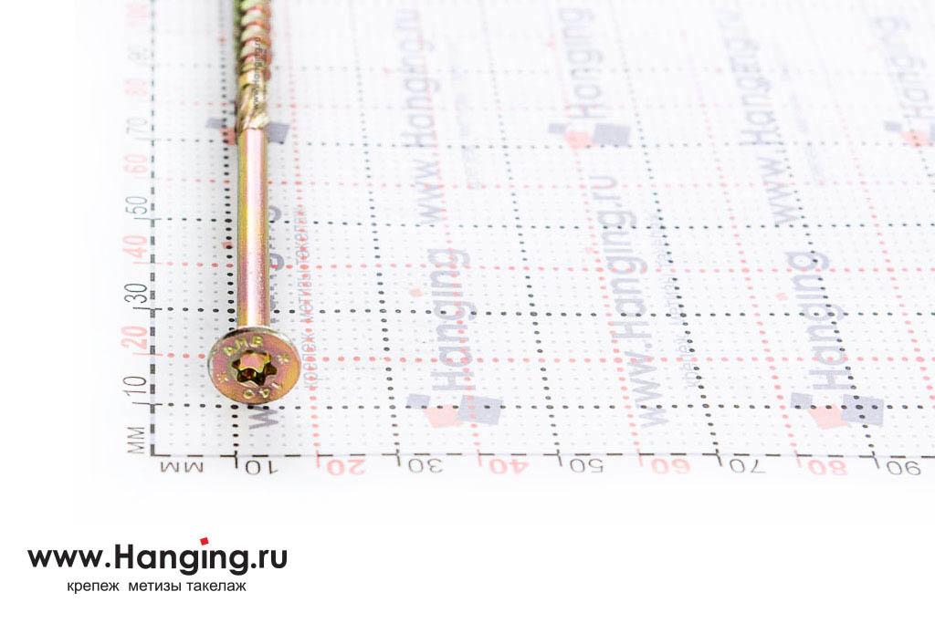 Головка самореза для плотных сортов дерева 6*140, желтый цинк, Torx