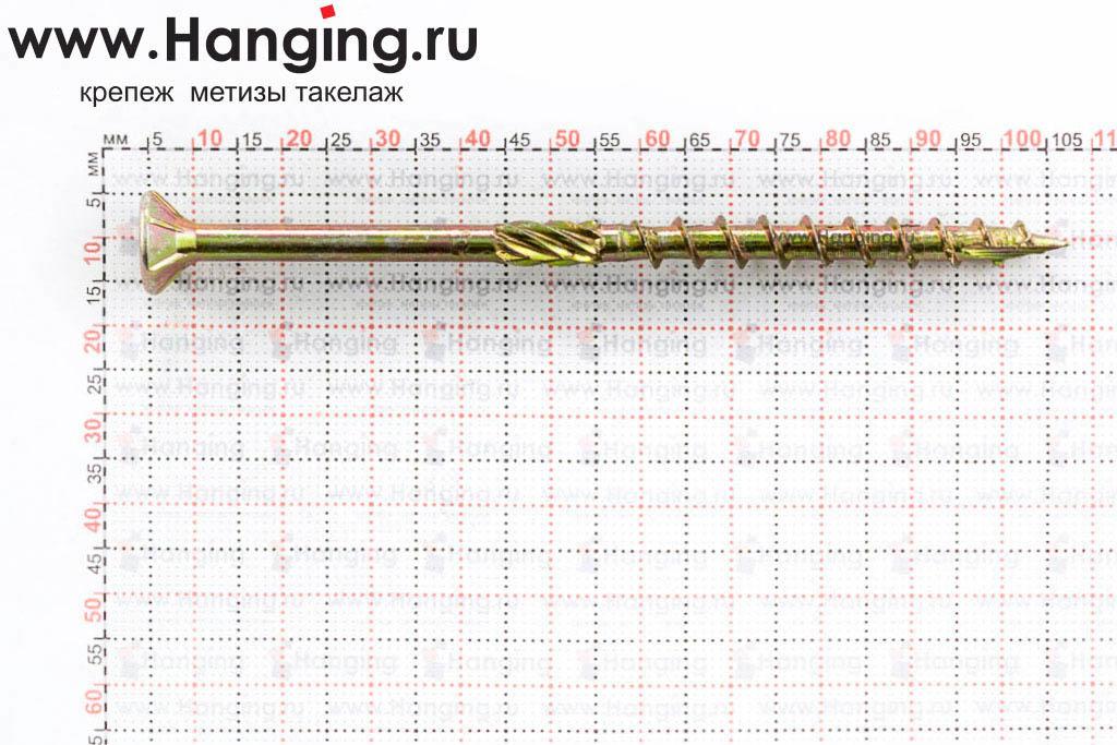 Размеры самореза для плотных сортов дерева 6х100, желтый цинк, Torx