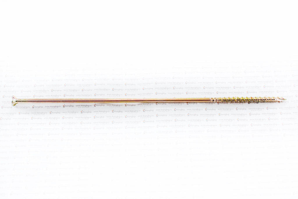 Саморез для плотных сортов дерева 6х280, желтый цинк, Torx