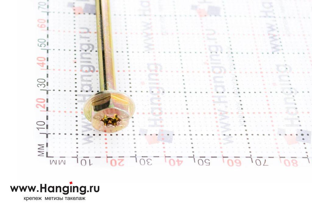 Головка самореза для дерева 8*200, шестигранная головка, желтый цинк, Torx