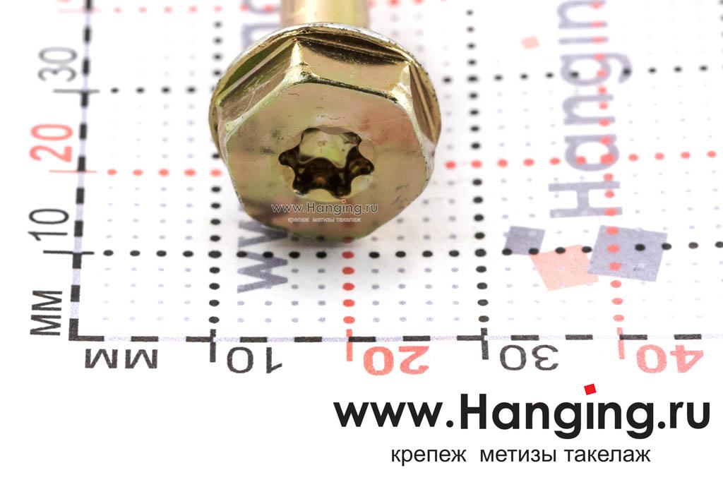 Головка самореза для дерева 10*360, шестигранная головка, желтый цинк, Torx