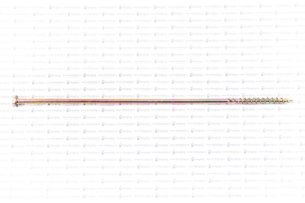 Вид самореза для дерева 10х400, шестигранная головка, желтый цинк, Torx
