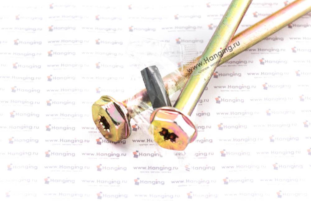 Головка самореза для дерева 10*400, шестигранная головка, желтый цинк, Torx