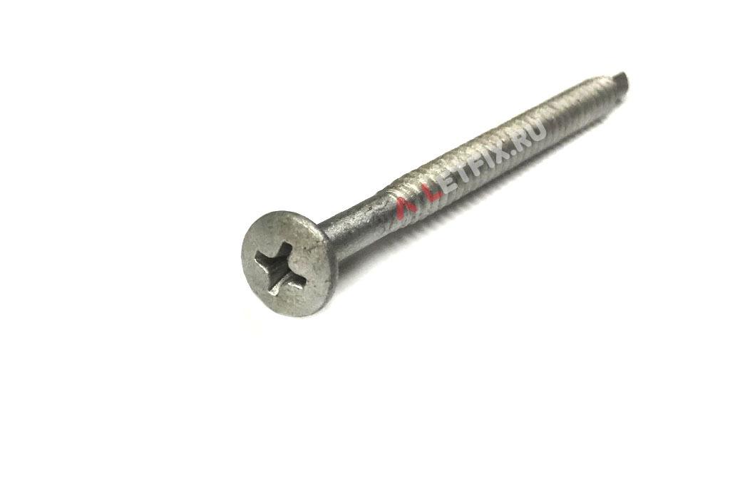 Оцинкованный саморез по металлу с полукруглой головой со сверлом 4,2х70