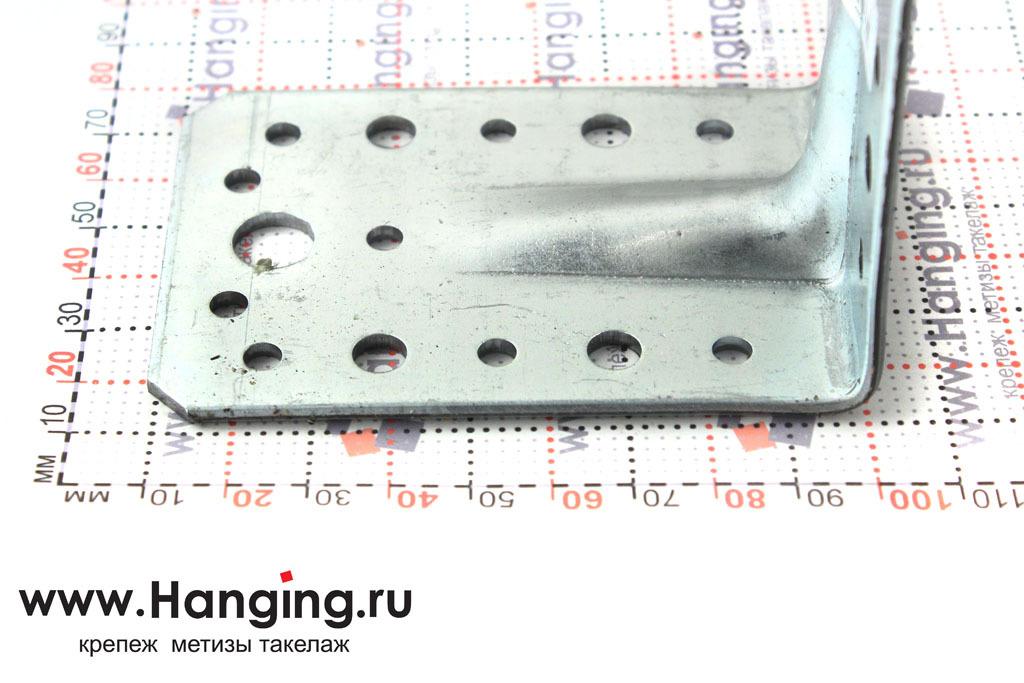 Размеры сторон уголка крепежного усиленного 90х90х65х2,5
