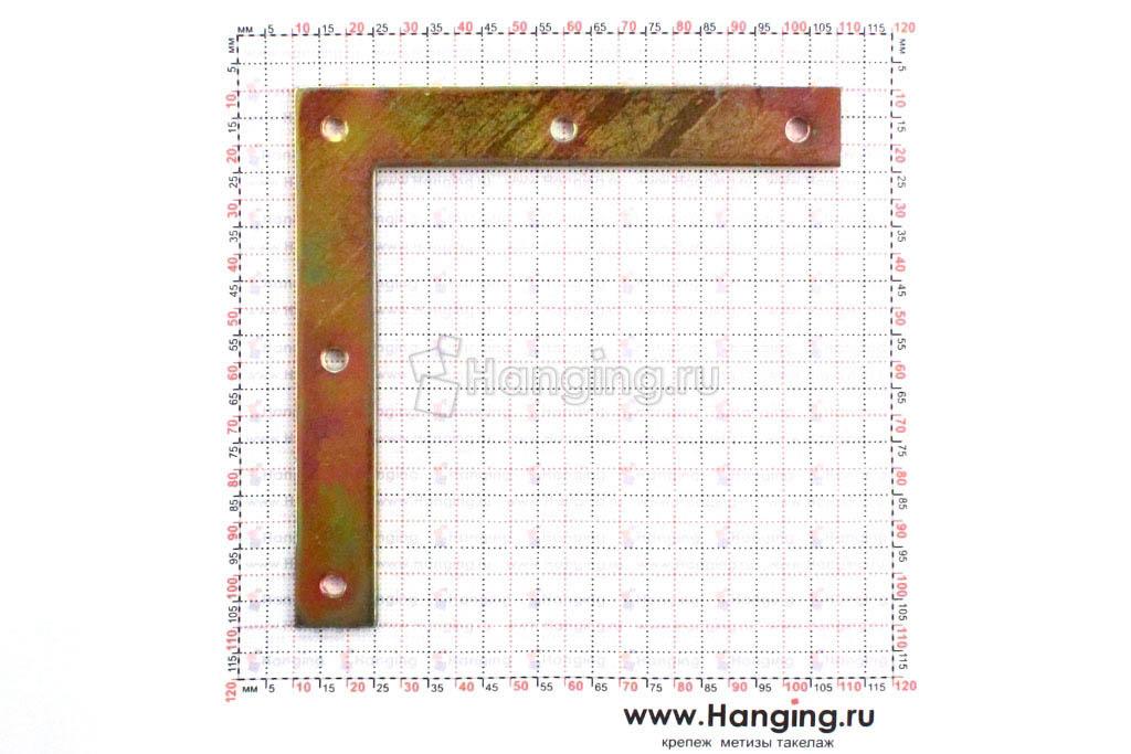 Размеры отверстий угловой г-образной пластины 100*100*15