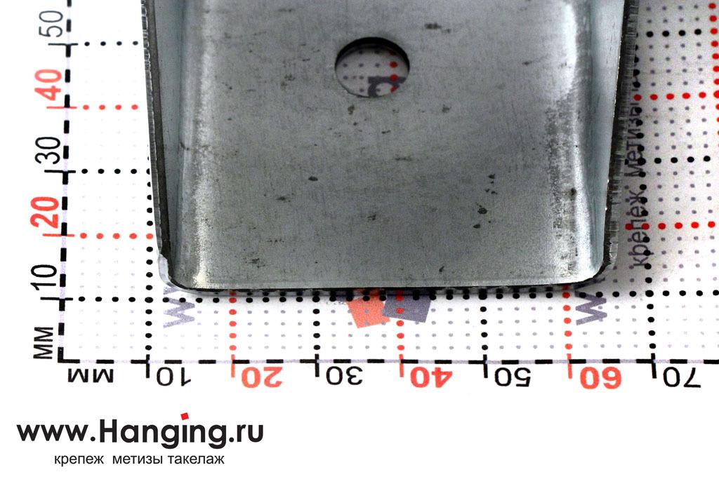 Ширина площадки раскрытой опоры под брус 50х140х76
