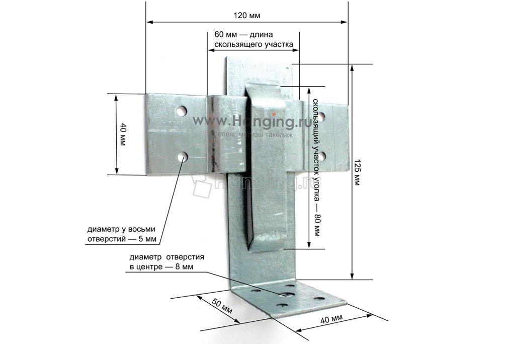 Размеры крепления для стропил закрытого 60х125х40