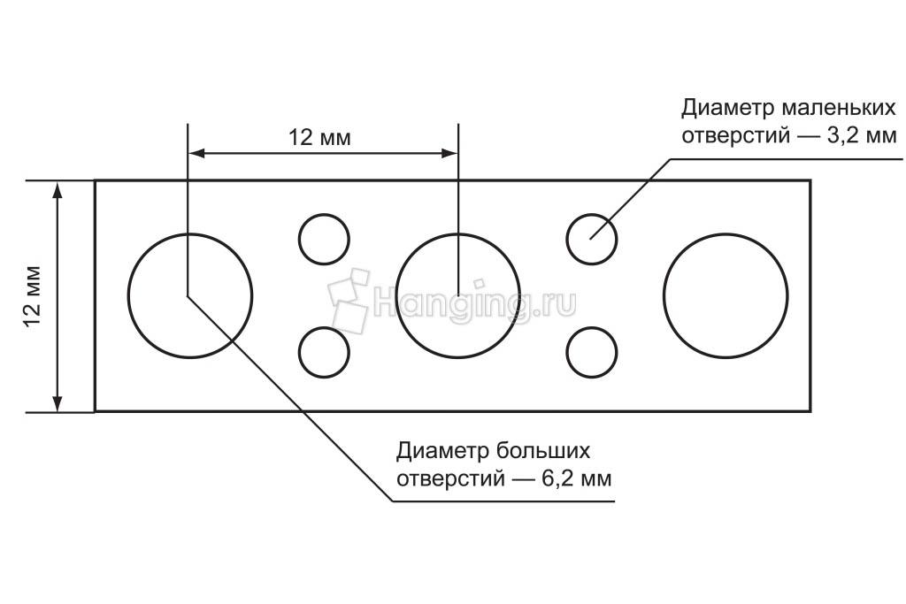 Отверстия перфорированной прямой ленты 12х0,7 длиной 25 метров