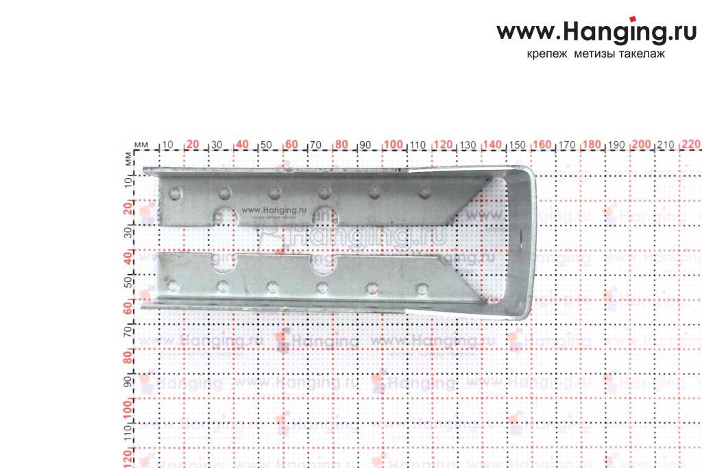 Размеры и отверстия закрытой опоры бруса 50*140 мм