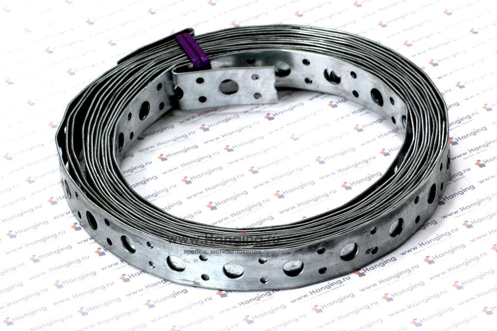 Лента перфорированная прямая шириной 20 мм, длиной 5 метров, толщиной 1 мм