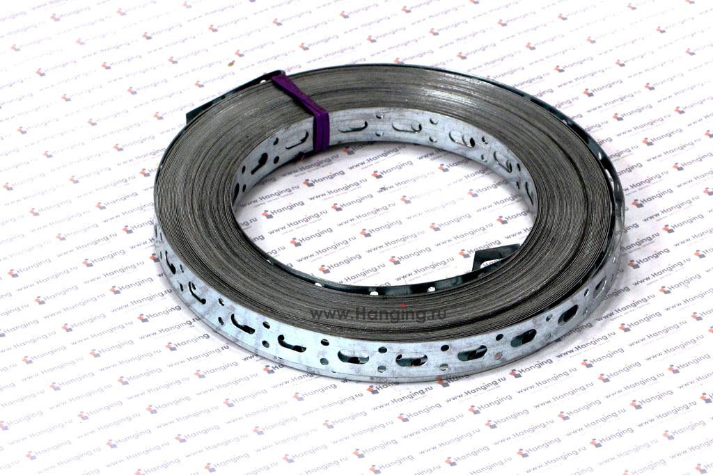 Лента стальная перфорированная оцинкованная прямая 17х0,5 мм