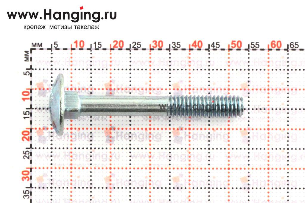 Размеры болта М6х45 мебельного 4.6 оцинкованного DIN 603
