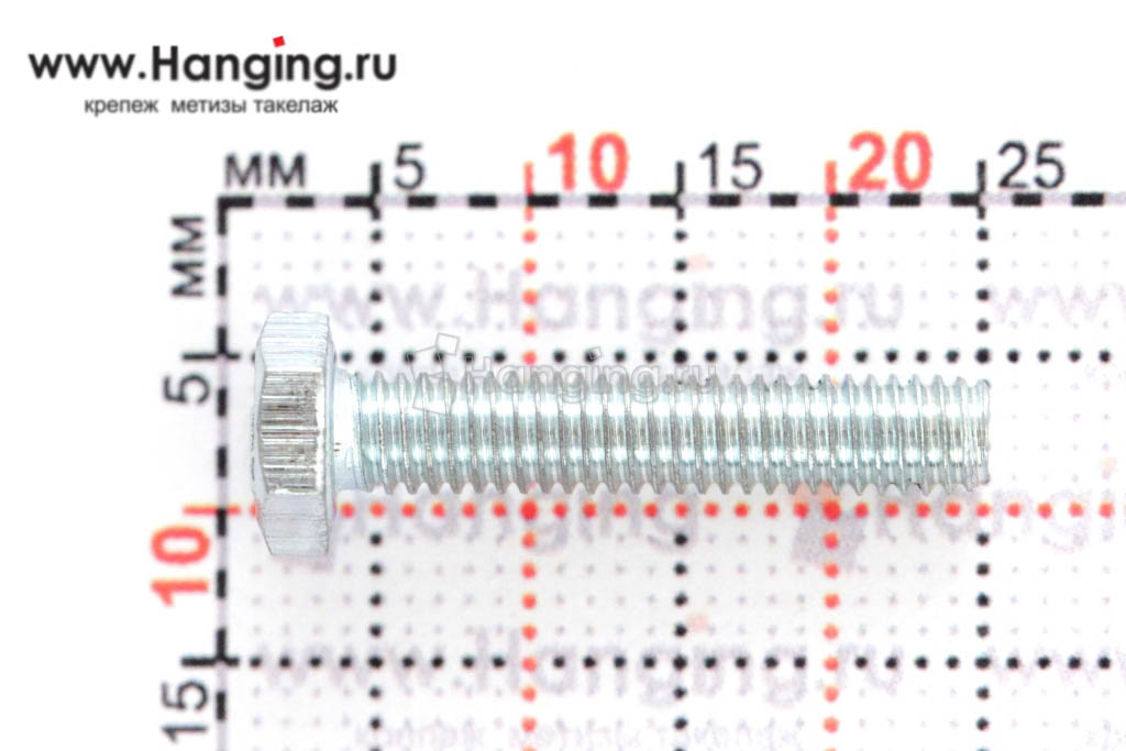 Размер резьбы оцинкованного болта с полной резьбой М4*20