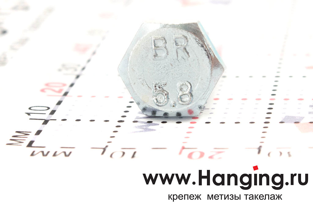 Размеры головки болта М8х16 с полной резьбой цинк DIN 933