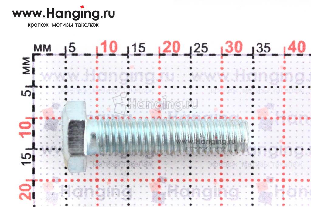 Размеры оцинкованного болт 6х25 с полной резьбой 8.8