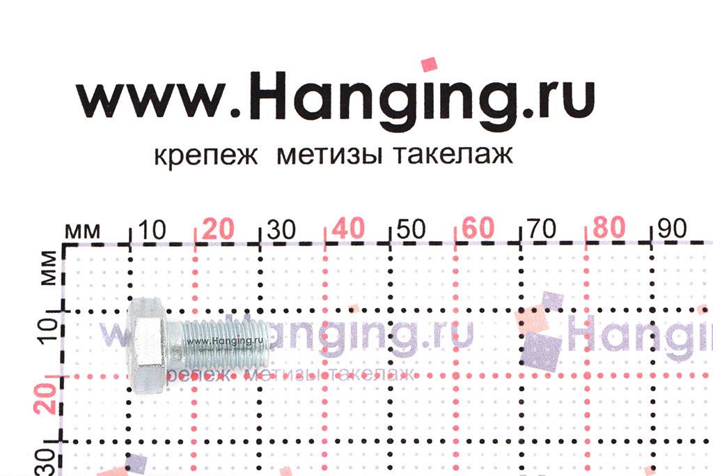 Размеры оцинкованного болт 8х16 с полной резьбой 8.8