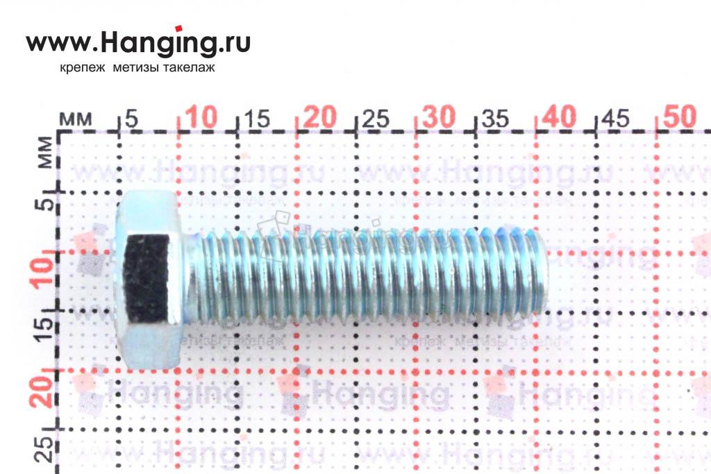 Размеры оцинкованного болт 8х30 с полной резьбой 8.8