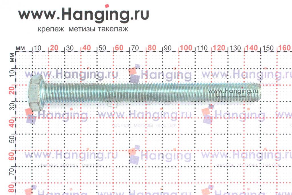 Размеры оцинкованного болт 10х130 с полной резьбой 8.8