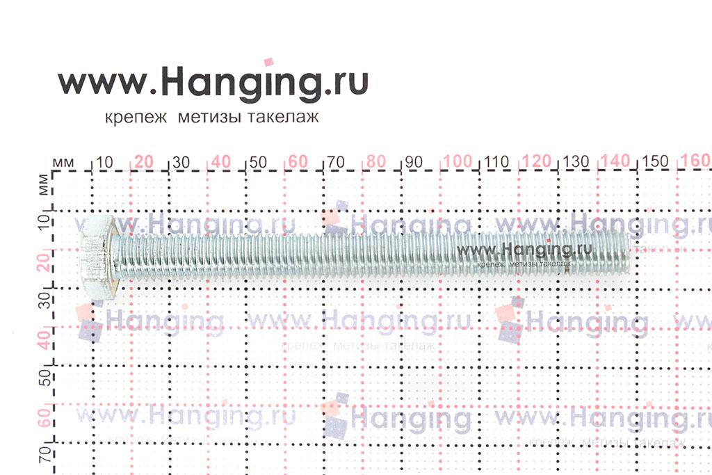 Размеры оцинкованного болт 12х130 с полной резьбой 8.8