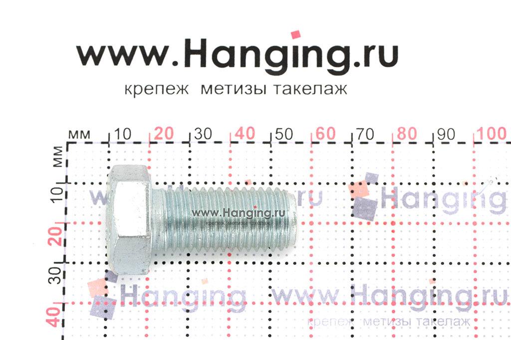 Размеры оцинкованного болт 16х35 с полной резьбой 8.8