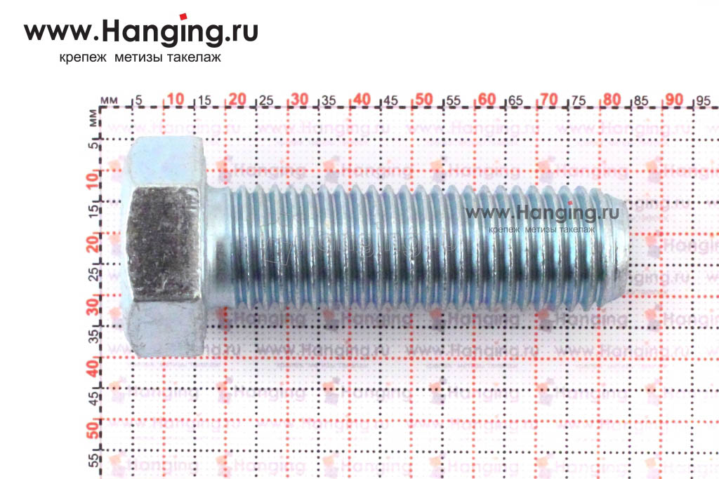 Размеры оцинкованного болт 20х65 с полной резьбой 8.8